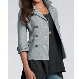 CAbi Gray Shrunken Double Breasted Peacoat